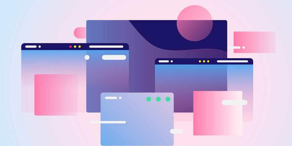 illustration of web browser windows