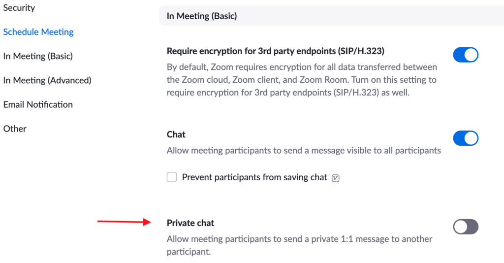 Settings for Private Chat in Zoom