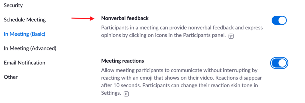 Settings for Nonverbal feedback in Zoom